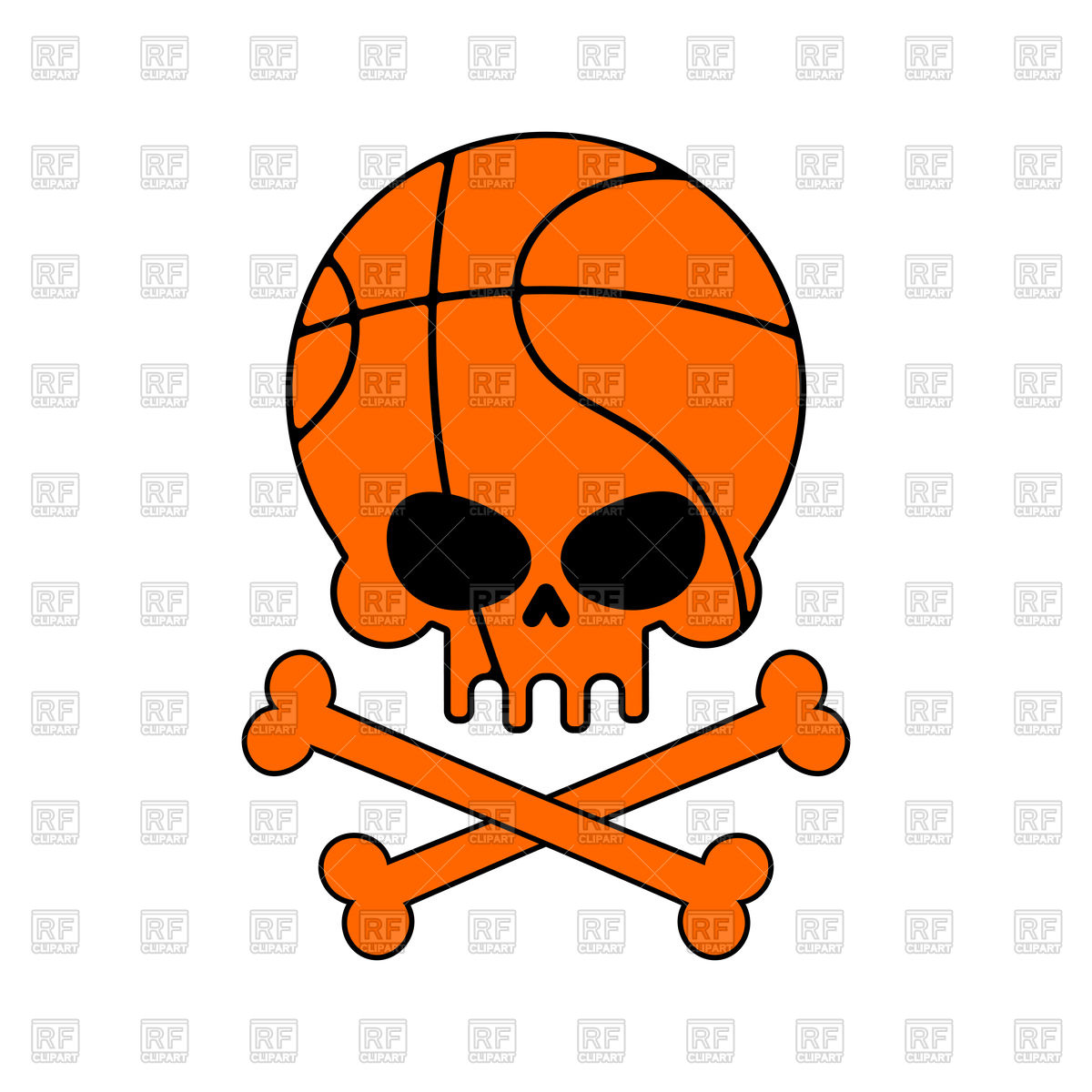 1200x1200 Skull Basketball. Ball Is Head Of Skeleton. Royalty Free Vector