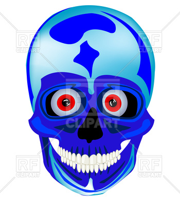 350x400 Cartoon Blue Skull Free Vector Clip Art Image