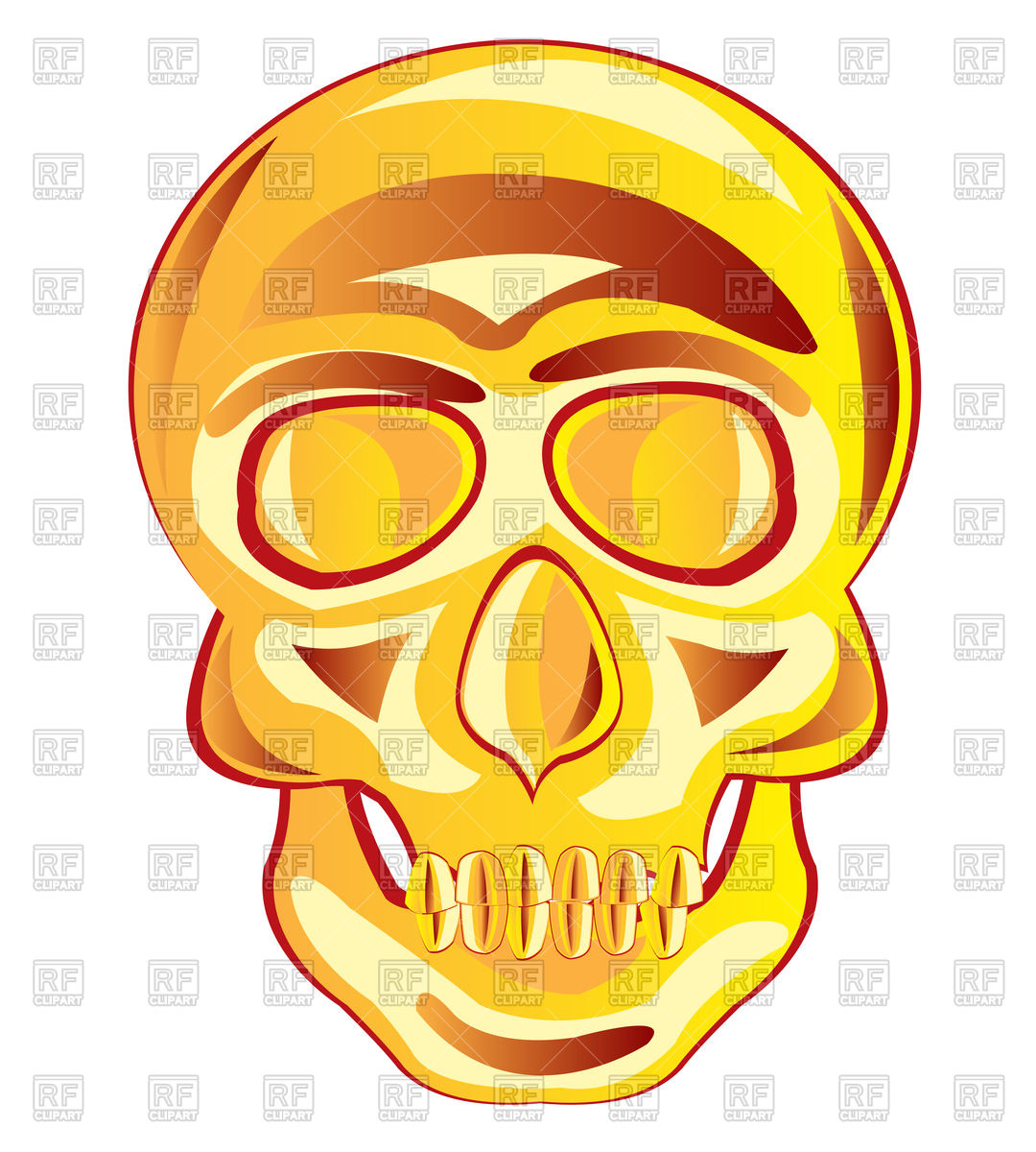 1080x1200 Gold Skull Royalty Free Vector Clip Art Image