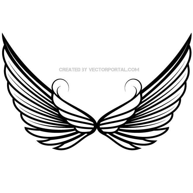 660x660 Skull With Angel Wings Png. Angel Wing Logo. Tribal Wings Clipart