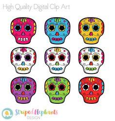 236x247 Day Of The Dead Sugar Skulls Clip Art Pack (300 Dpi) Digital