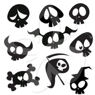 336x336 Cartoon Skulls Clip Art Set Skulls Clip Art