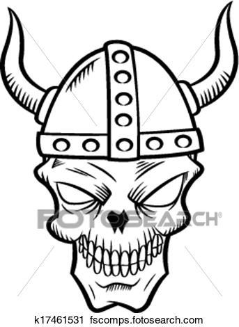 343x470 Clipart Of Skull With Viking Helmet K17461531