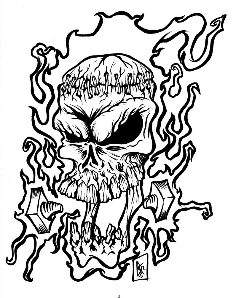 flaming skull coloring pages | Skulls Drawings | Free download best Skulls Drawings on ...