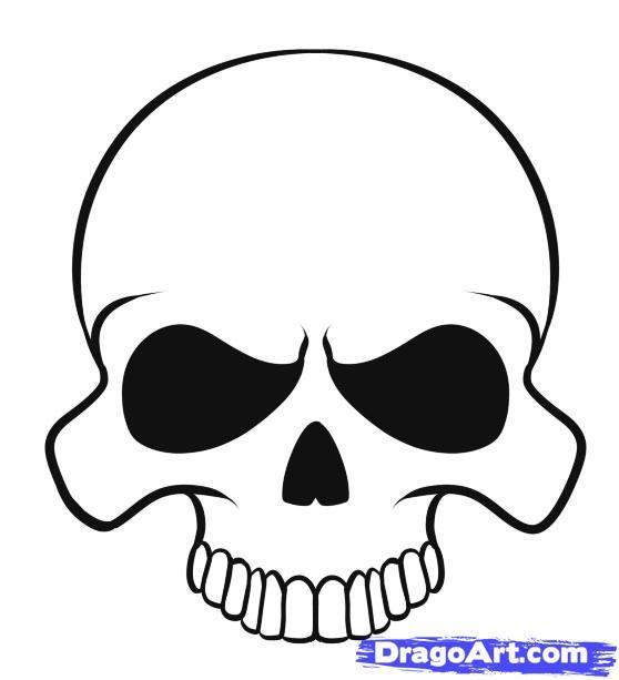 558x613 Drawn Skull Easy Draw