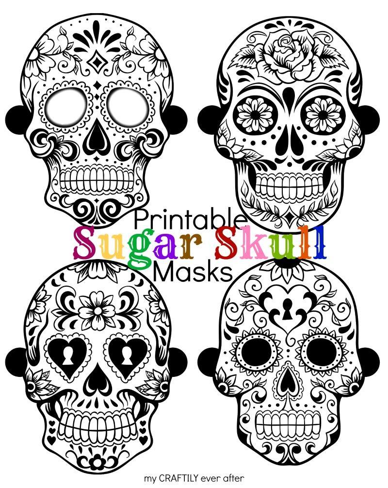 800x1006 Halloween Printable Sugar Skull Masks Skull Mask, Sugar Skulls