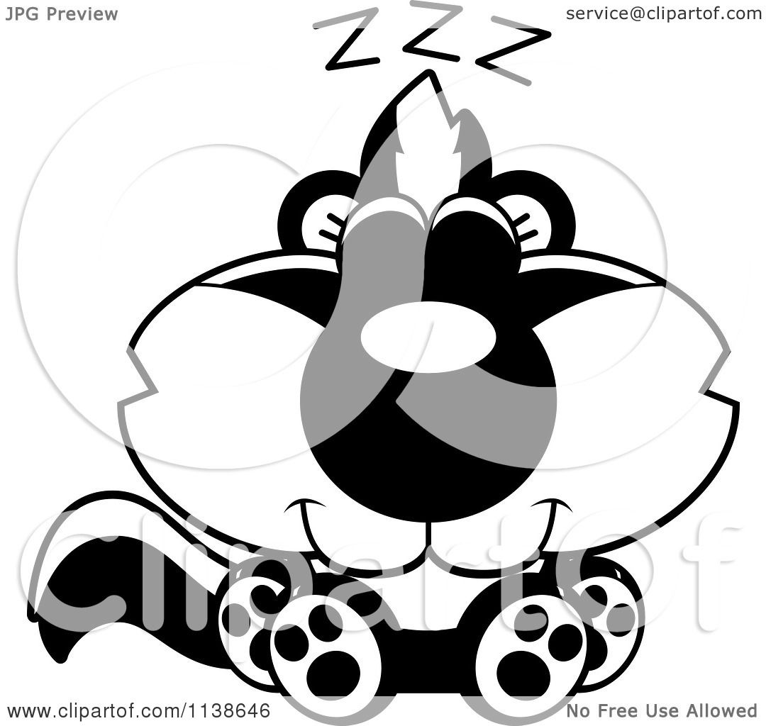 1080x1024 Cute Black And White Skunk Clipart
