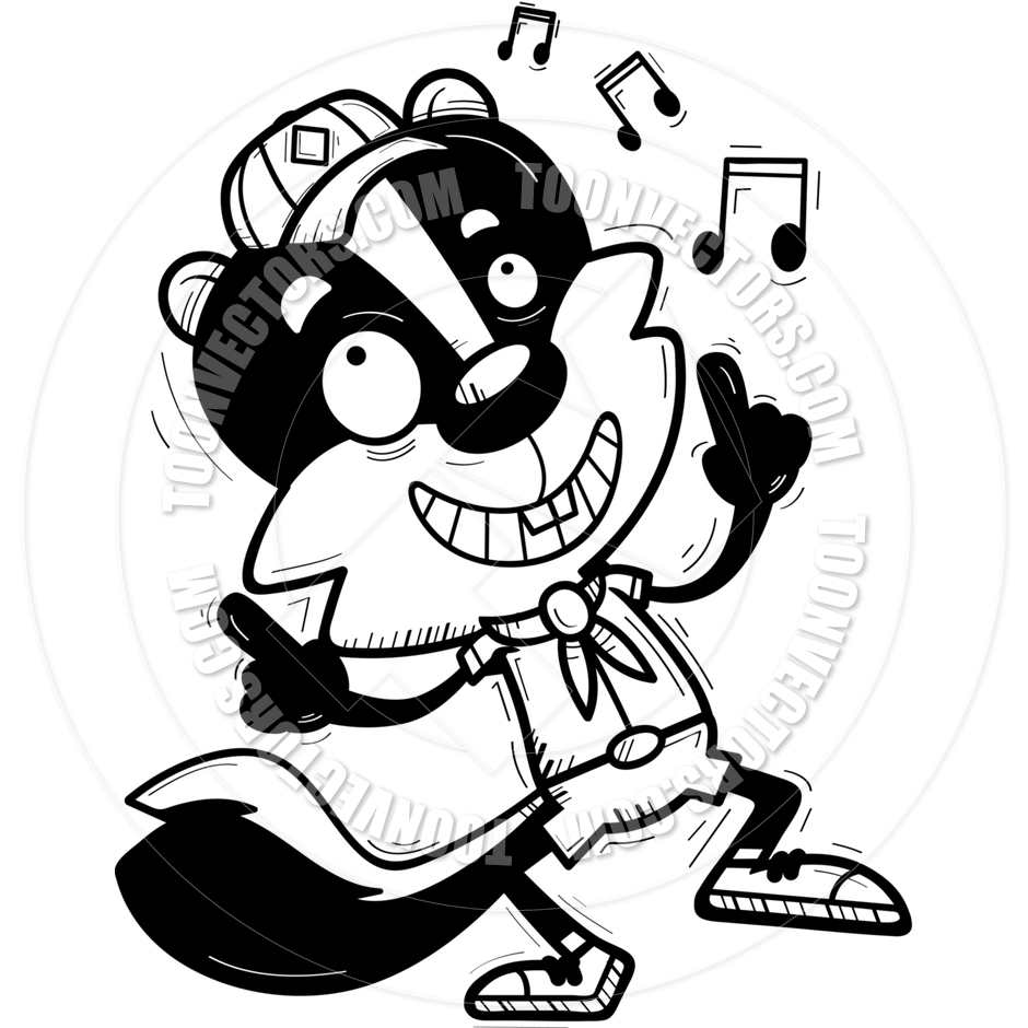 940x940 Cartoon Male Skunk Scout Dancing (Black Amp White Line Art) By Cory