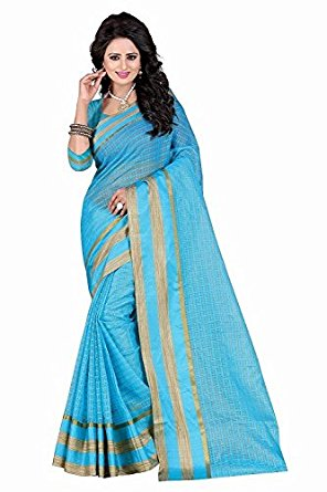 296x445 Kiranz Web Store Women#39s Sky Blue color Cotton silk Saree (Sky