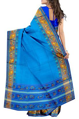 276x414 Skyblue Plain Boarder Pallu Patola Saree