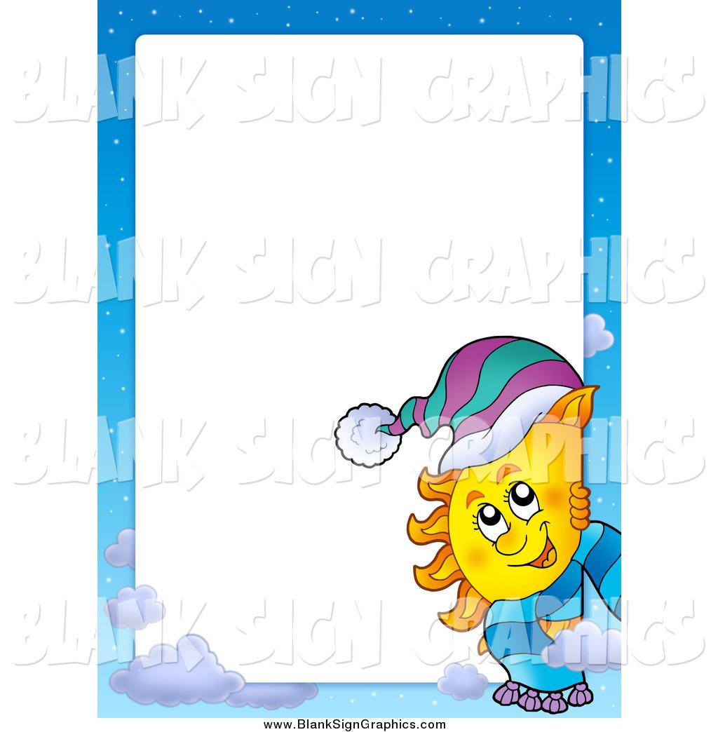 1024x1044 Vector Cartoon Illustration of a Winter Sun and Sky Border with