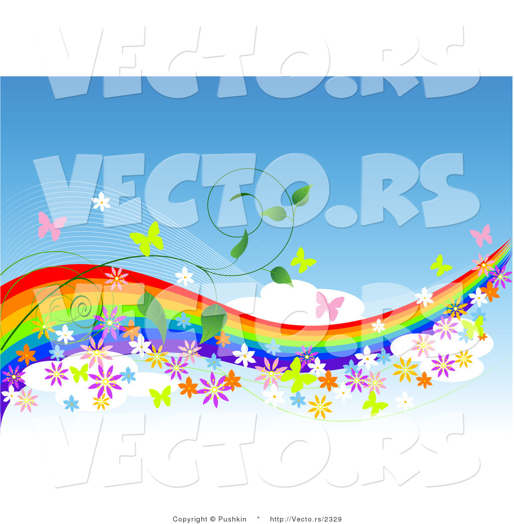 1024x1044 Vector of Colorful Rainbow in Blue Sky with Butterflies, Flowers
