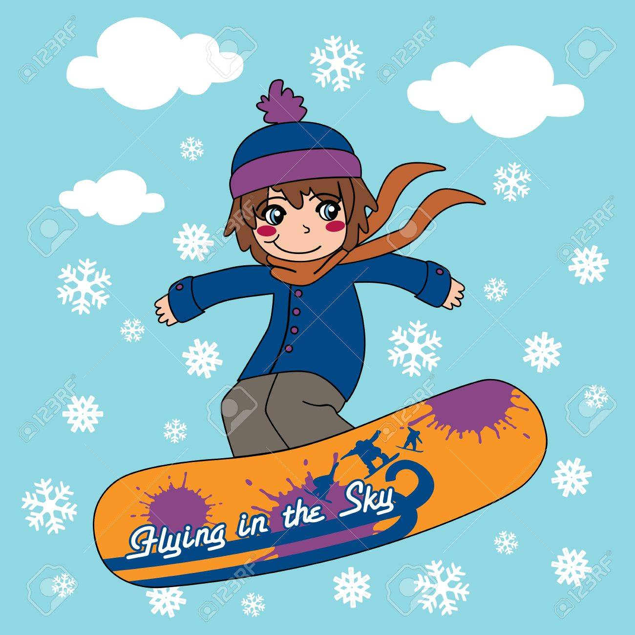 1300x1300 Young Kid Flying Through The Sky With His Snowboard Royalty Free