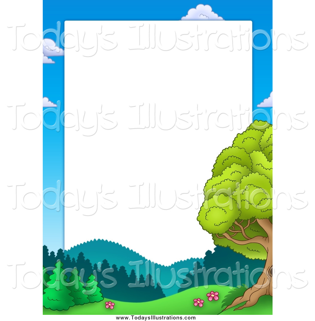 1024x1044 Clipart of a Border of Sky, Mountains and Trees Around White Space