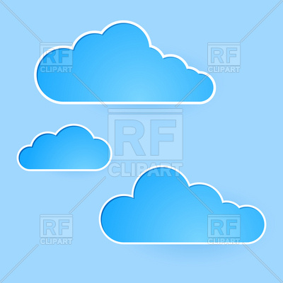 400x400 Cartoon sky with simple clouds Royalty Free Vector Clip Art Image