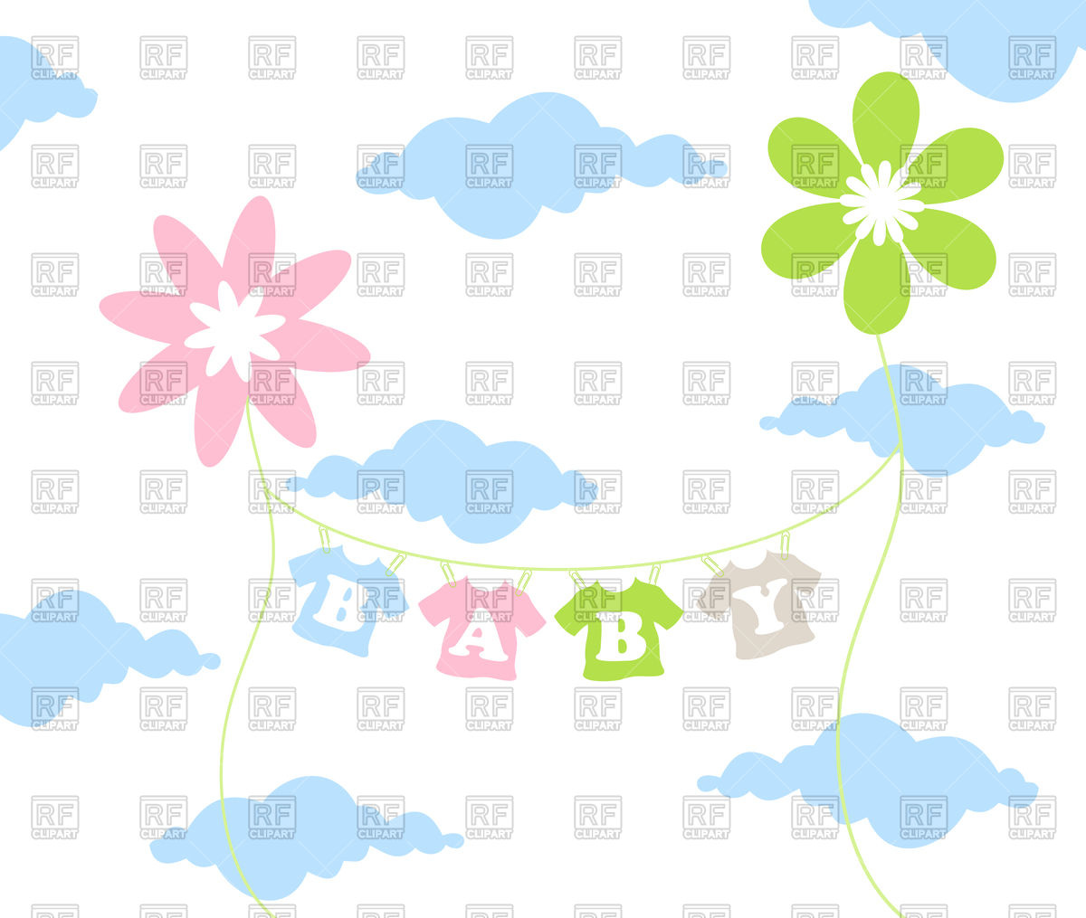 1200x1015 Children#39s clothes dries on sky background Royalty Free Vector