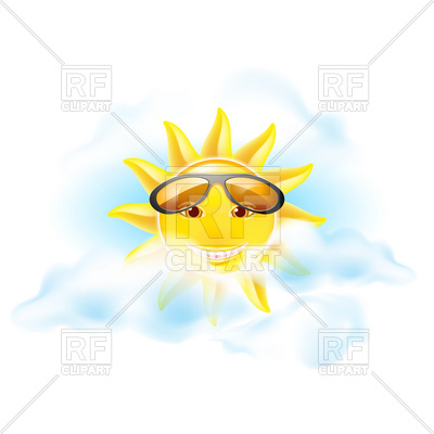 400x400 Sun in cloudy sky with sunglasses Royalty Free Vector Clip Art