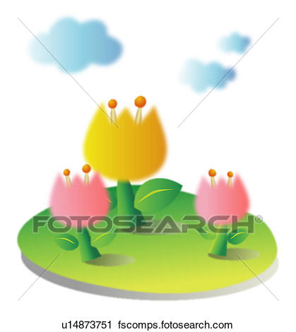 419x470 Clipart of tulip, spring, clouds, sky, flower, plant, season