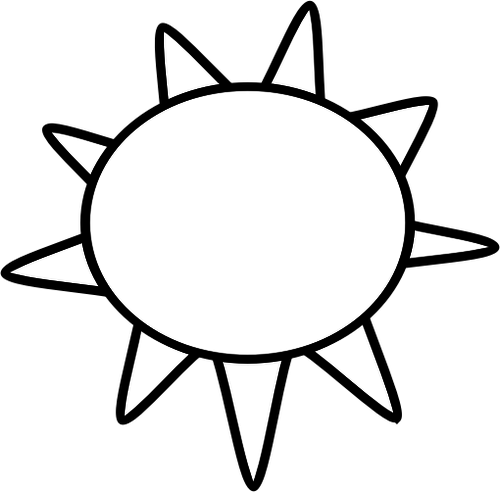 500x492 Black and white symbol for sunny sky vector image Public domain