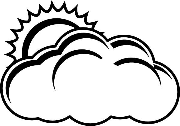 600x418 Cloud Clipart Black And White
