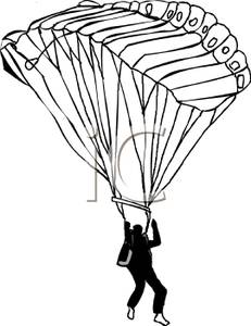 231x300 Black and White Cartoon of a Paraglider Sailing Through the Sky