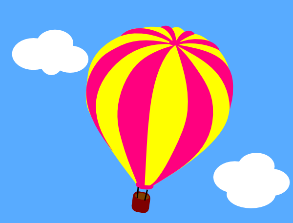 600x457 Hot Air Balloon In The Sky With Clouds Clip Art