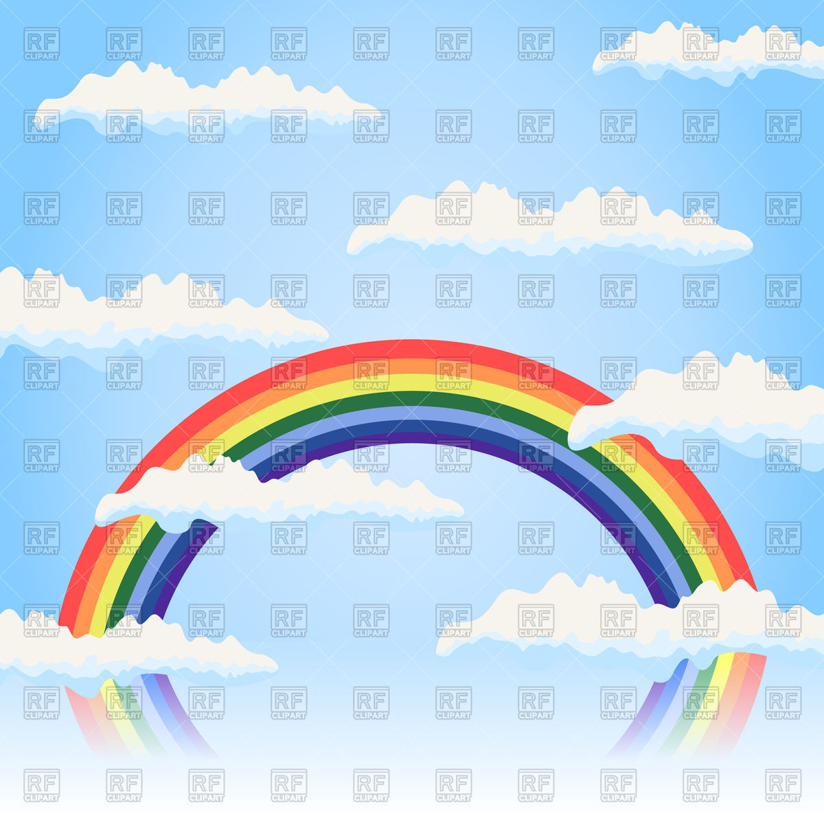 1200x1200 Rainbow in the blue sky Royalty Free Vector Clip Art Image