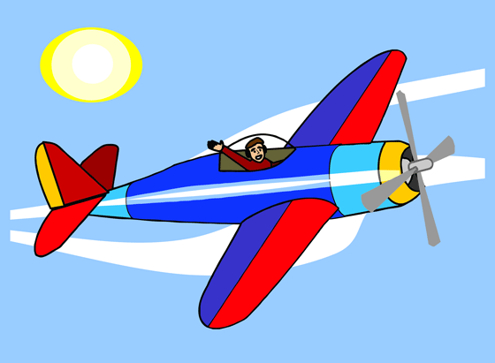 560x411 Small airplane in blue sky free clip art