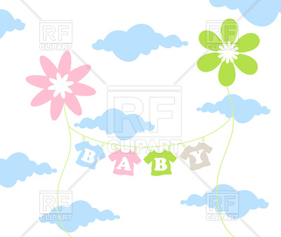 400x338 Children#39s clothes dries on sky background Royalty Free Vector