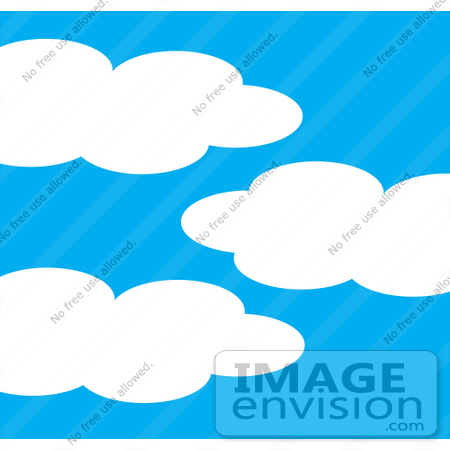 450x450 Clip Art Graphic of a Blue And Puffy Cloud Sky