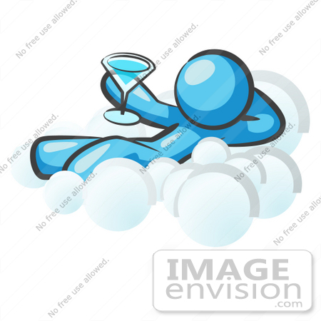 450x450 Clip Art Graphic of a Sky Blue Guy Character Drinking on a Cloud