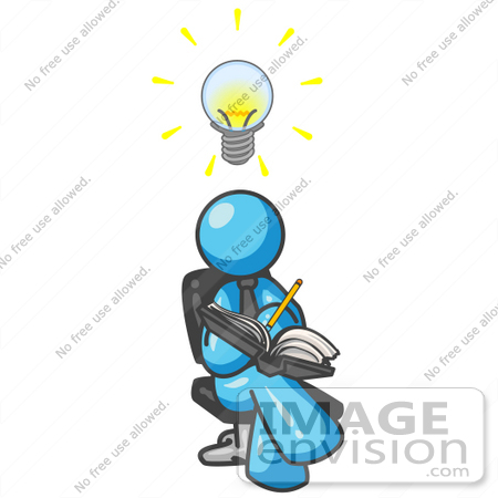 450x450 Clip Art Graphic of a Sky Blue Guy Character Writing Ideas Down