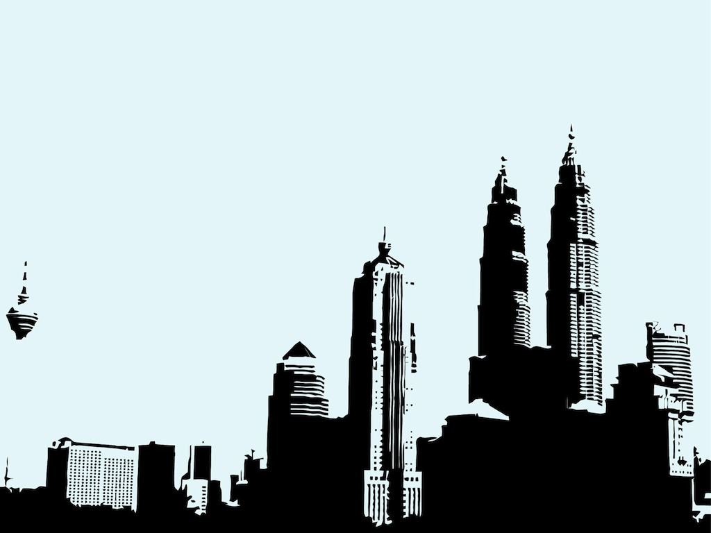 1024x768 Free City Skyline Clipart