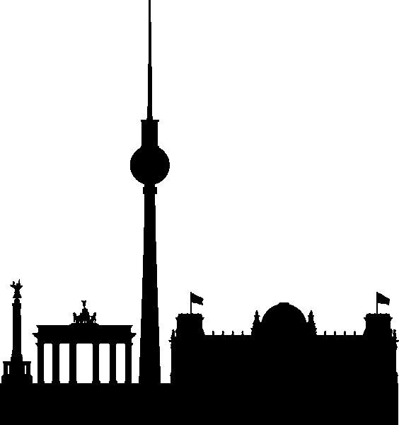 564x600 Berlin Skyline Black Simple Clip Art