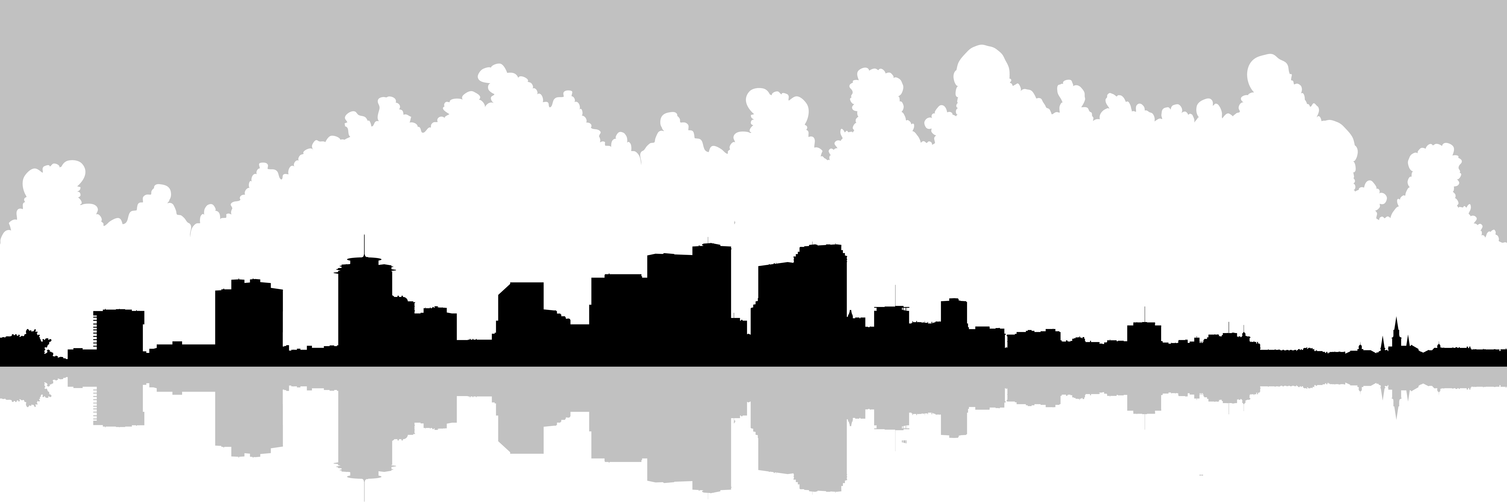 6000x2000 Skyline Clipart Graphic