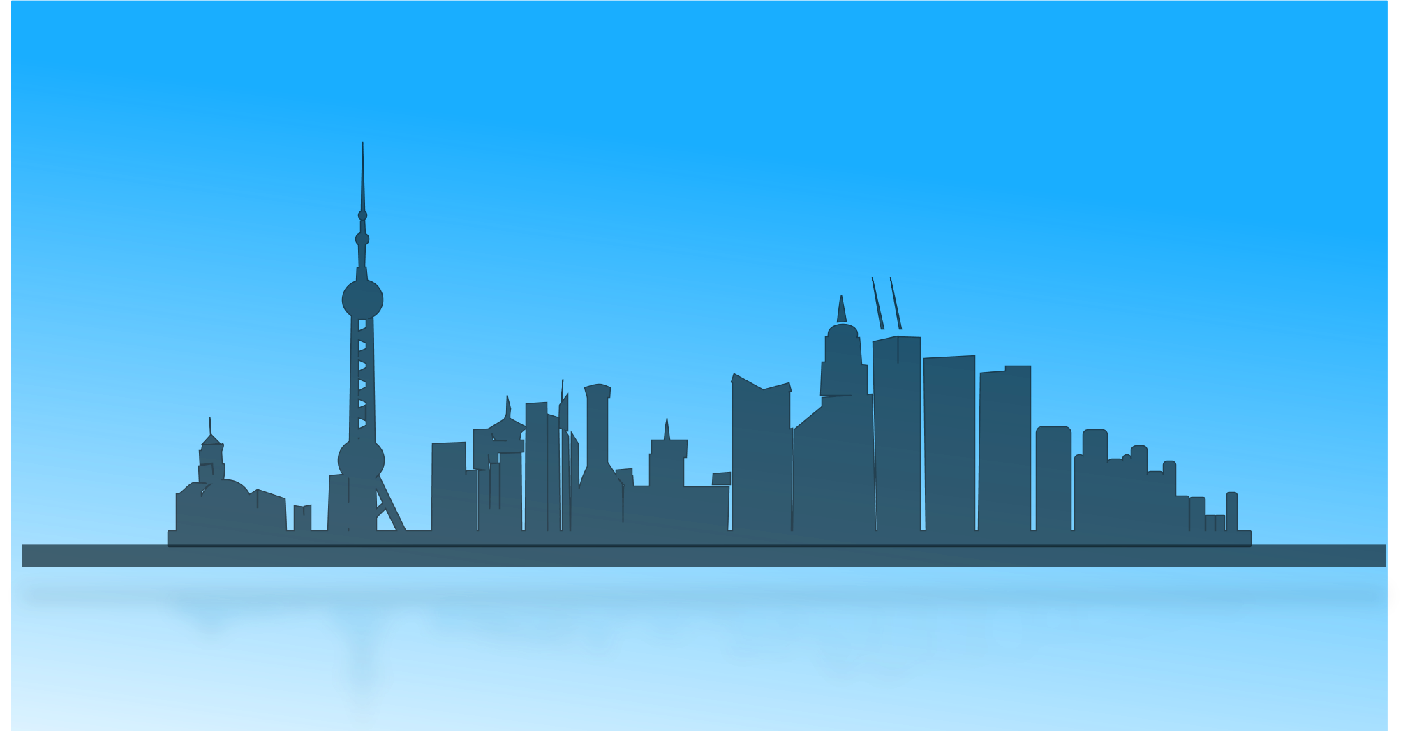 2020x1076 Blue Skyline Clipart