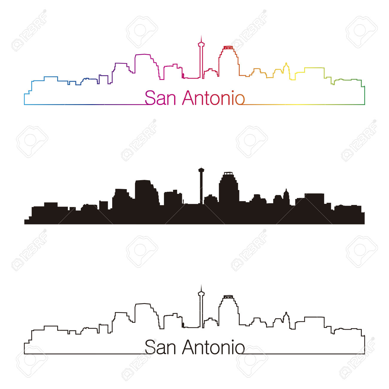 1300x1300 San Antonio Skyline Drawing San Antonio Skyline Clipart