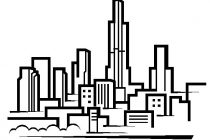 210x140 Chicago Skyline Coloring Page Chicago Skyline Drawing Clipart