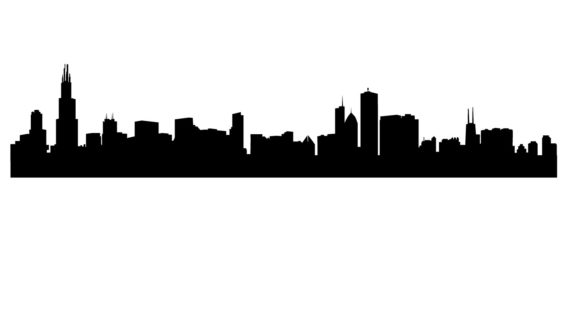 570x320 Chicago Skyline Outline Drawing Chicago Skyline Clipart Chicago