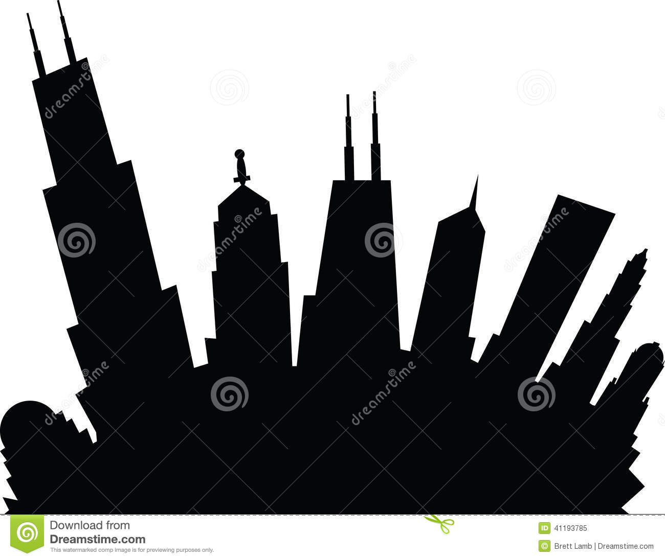 1300x1096 Chicago Skyline Outline Drawing Chicago Stock Illustrations
