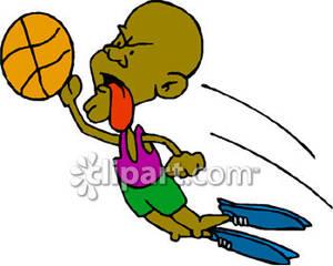 300x240 Black Man With A Basketball Diving Through The Air For A Slam Dunk