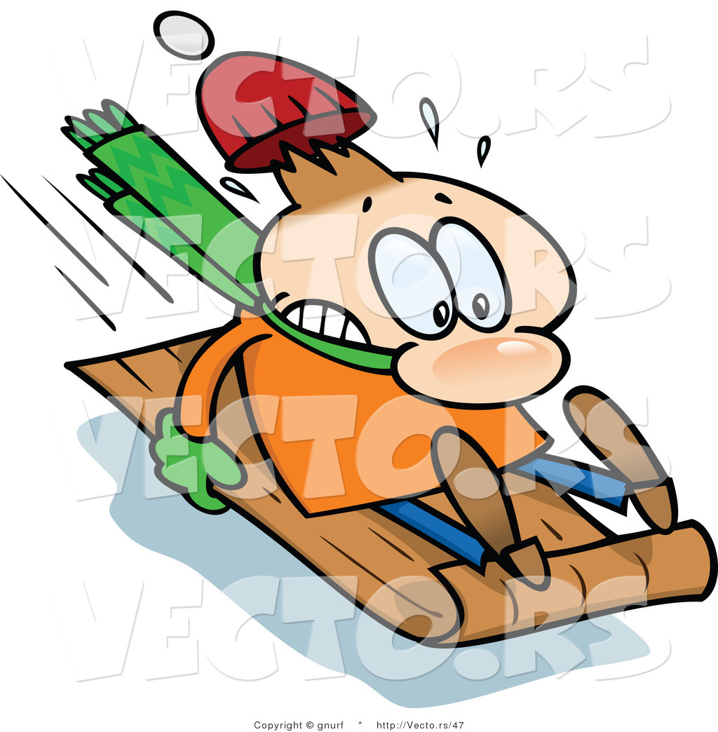 1024x1044 Vector Of A Nervous Man Sledding Extremely Fast On A Toboggan Snow