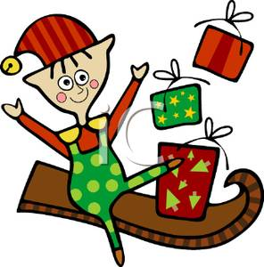 296x300 Art Image A Cheering Elf With Christmas Presents On A Sled