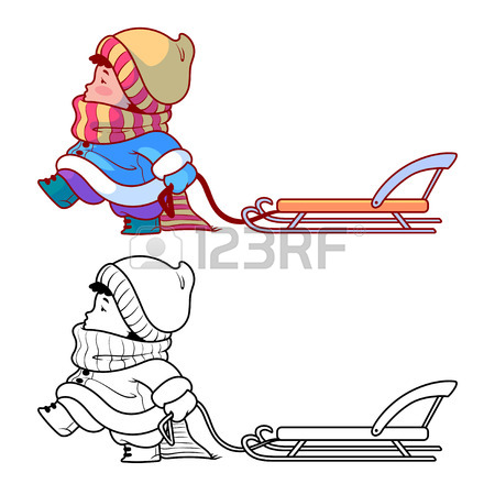 450x450 Kid Walking With A Sled. Winter Holiday. Cute Cartoon Character