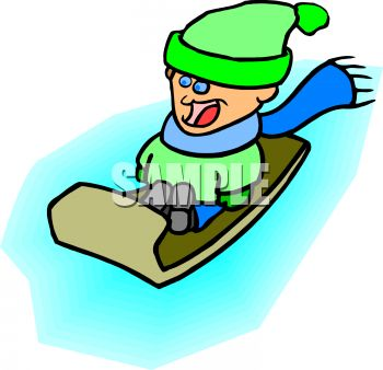 350x338 Picture Of A Boy Sliding Down In A Hill In His Sled