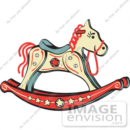 450x450 Royalty Free Cartoon Clip Art Of A Child's Rocking Horse With Star