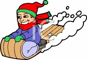 300x207 Of A Child Sledding Down A Slope On A Sled