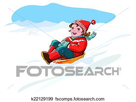 450x338 Clip Art Of Kid Sledge, Snow