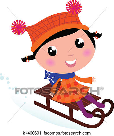 394x470 Clipart Of Cute Winter Sledding Child Isolated On White K7460691