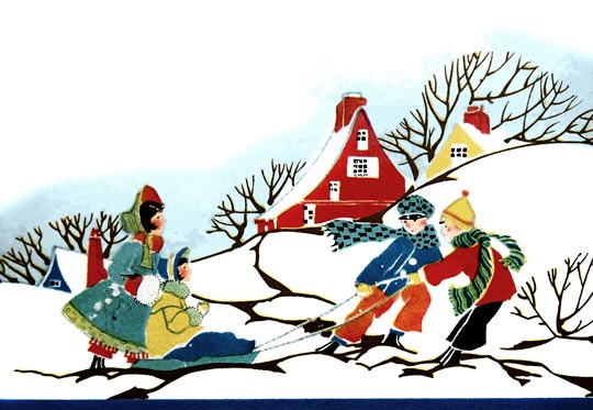 540x373 Early 1900's Christmas Card With Children Sledding @ Vintage Fangirl